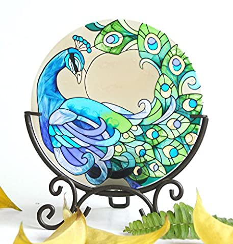 Hand Painted Art Glass Tea Light Candle Holder Table Topper Candleware Holiday Decor (Green Peacock)