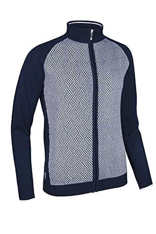 Glenmuir Ladies' Cotton Striped Diamond Design Zip Front Golf