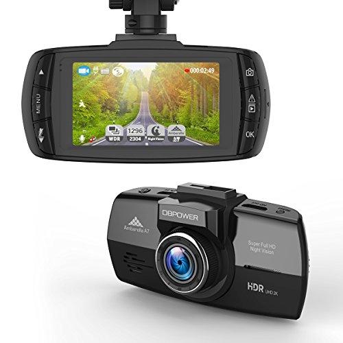 DBPOWER 2K FHD dvr dash cam, 2560x 10802,7LCD 170° Grandangolo Dashboard Car Video Recorder fotocamera con G-sensor, registrazione in loop, WDR, visione notturna, sostegno 64GB Micro SD (non inclusa)