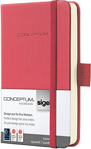 Sigel CO598 Mini-Notizbuch, ca. A7, kariert, Hardcover, rot, CONCEPTUM - viele Modelle