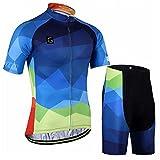 GWELL Herren Farbverlauf MTB Fahrradbekleidung Set Radtrikot + Radhose mit Sitzpolster 2XL