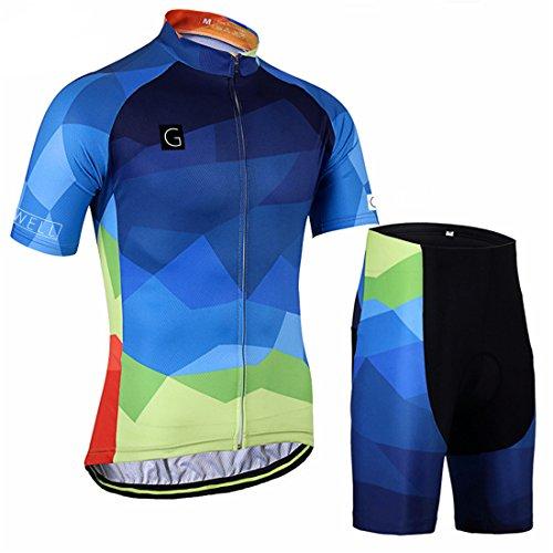 GWELL Hombre Degradado Bicicleta de Montaña Juego de Ropa para–Rueda Camiseta + Pantalón con Asiento Acolchado, Color Kurzarm Trikot+Radhose, Tamaño S = Etiqueta M