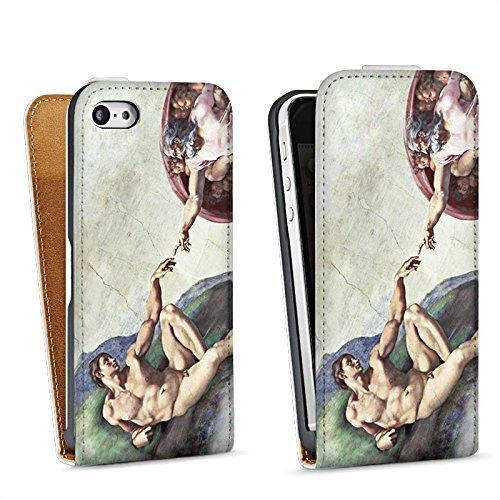 Apple iPhone 4 Housse Étui Silicone Coque Protection Michel-Ange Art Adam Sac Downflip blanc
