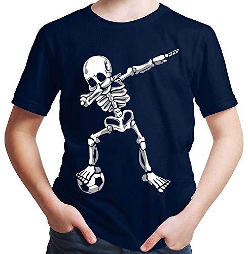 HARIZ  Jungen T-Shirt Dab Skelett mit Fussball Dab Dabbing Dance Halloween Plus Geschenkkarten Deep Navy Blau 164/14-15 Jahre