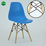 P&N Homewares® Romano DS Moda Chair Plastic Wood Retro Dining Chairs White Black Grey Red Yellow Pink Green Blue (Blue)