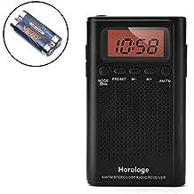 AM FM Radio de bolsillo, portátil Radio Reloj Despertador con el tiempo, alarma, radio, pantalla digital, estéreo modo y con batería