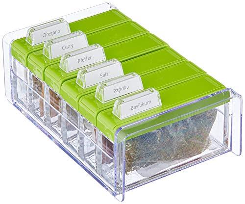Emsa 508458 Gewürz-Kartei, 6 Gewürze, 0.075 Liter, Grün/Transparent, Spice Box 6 Küche