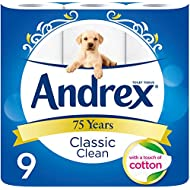 Andrex New and Improved Classic Clean Toilet Roll Tissue Paper, 9 Rolls