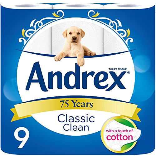 Andrex Classic Clean Toilet Roll Tissue Paper – Pack of 45 Rolls