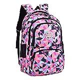 XHHWZB Wasserdichte Schulrucksack für Mädchen Middle School Cute Bookbag Daypack für Frauen Rhombus (Farbe : Schwarz, größe : Groß)