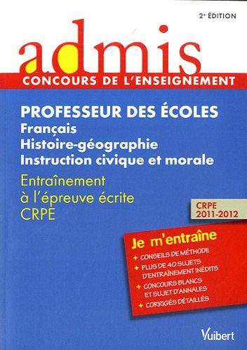 Concours Professeur des écoles - Français, histoire-géographie, instruction civique et morale - Admis - Je m'entraîne