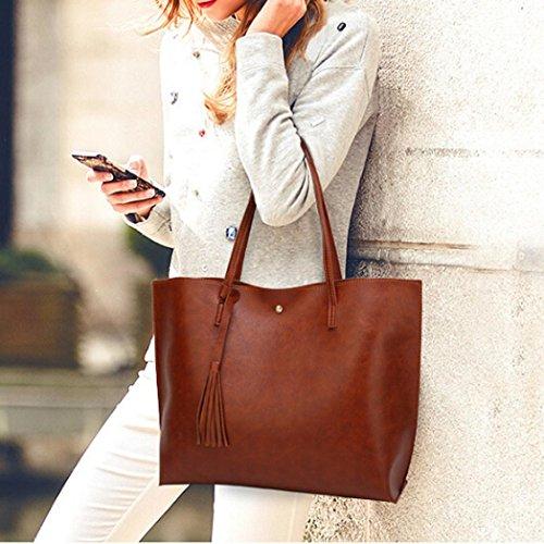 BZLine® Frauen Casual Taschen Frauen Leder Quaste Handtasche Schultertasche Braun