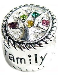 Queenberry de plata de ley de árbol de la familia de corazones rosas rosa amarillo Green Life cuenta para F/de seguridad europeo Baigi Troll para pulsera Pandora pulseras Chamilia