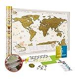 Weltkarte zum Rubbeln Große Detaillierte - Rubbel Weltkarte Poster 88 x 62 cm Delux Gold - Premium Qualität Landkarte Freirubbeln XXL - Scratch off World Map Geschenk für Reisende - Discovery Map