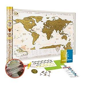 Mapa Mundi Rascar Detallado – Mapa del Mundo para Raspar Grande 88 x 62 cm – Mapamundi Rasca Dorado – Scratch off World Travel Map Poster – Carta para Rascar Regalo para Viajeros – Discovery Map