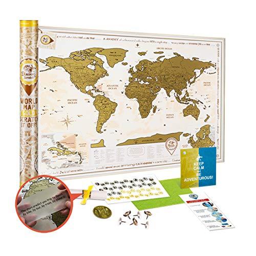 Mapa Mundi Rascar Detallado - Mapa Mundo Raspar Grande