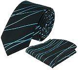Louis Binder de Luxe Krawatte mit Einstecktuch 2er Set Schlips Tie Necktie 416 schwarz türkis