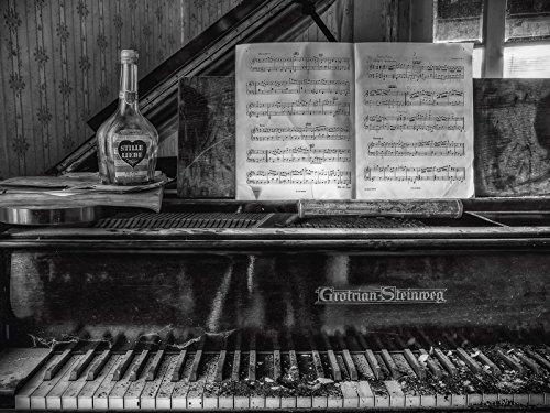 Artland-Poster-Kunstdruck-oder-Leinwand-Bild-Wandbild-fertig-aufgespannt-auf-Keilrahmen-C-Buchspies-Lost-Place-Klavier-Fotografie-schwarz-wei