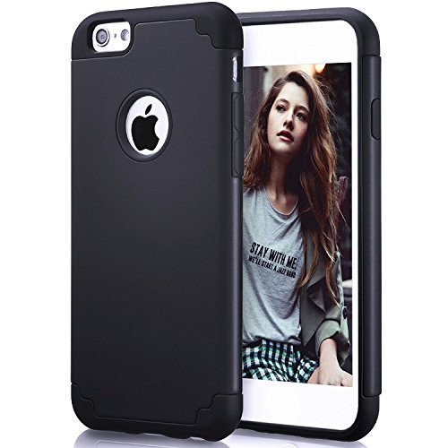 le, iPhone 6 Schutzhülle, zaox Slim Dual Layer Weichem Silikon Bumper und Harte PC Back Cover, Dämpfung & griffsicheres Kratzfest Hybrid Case für Apple iPhone 6/6S, Pure Black ()