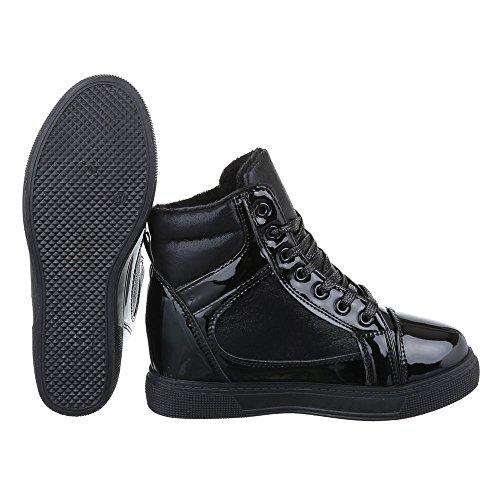 Ital-Design Keilstiefeletten Damen Schuhe Plateau Keilabsatz/Wedge Leicht Gefütterte Schnürsenkel Stiefeletten Schwarz