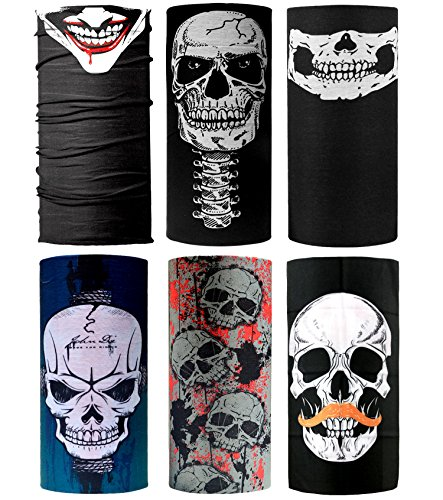 unktionstuch - Elastisches Halstuch Schlauchtuch Nahtlose Sport Stirnbänder Bandanas für Yoga, Wandern Reiten Motorradfahren (Schädel Maske Socke)