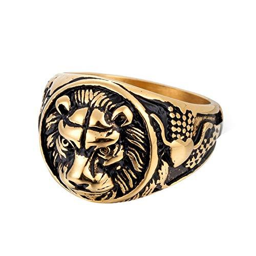 Daesar Edelstahlring Herren Löwe Partnerringe Gold Ring für Männer Gr.65 (20.7) (Fallen Titan Lego)
