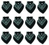 12er Pack Bandanas mit original Paisley Muster in schwarz