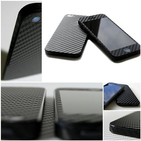 Casa Design - Cover adesiva in vinile per iPhone 5, trama 3D fibra di carbonio, colore: Nero