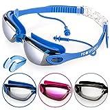 Proworks Schwimmbrille mit verspiegelten Gläsern, UV Schutz und Anti-Beschlag-Schutz - für Erwachsene, Kinder Männer und Frauen | Voll Verstellbar – Blau