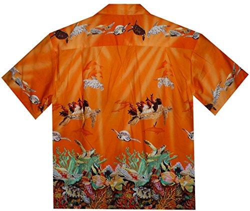 KY´s  Chemise Hawaïenne D'Origine   Pour Hommes   S - 8XL   Manche Courte   Poche Avant   Hawaiian-Imprimer   Tortue récif de corail Orange