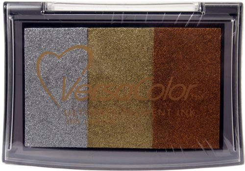 Tsukineko Versacolor Brillianz 3-farbiges Stempelkissen, Synthetic Material, Mehrfarbig, 9.9 x 6.8 x 1.7 cm -