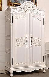 MOREKO Mahagoni Kleiderschrank Antik-Stil Dielenschrank Massivholz Schrank weiß