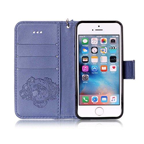 Linvei iPhone 5/5S/5SE Flip Case housse Téléphone Portable Étui de Protection Rabattable Style Flip Cover PU Cuir avec Fermeture Aimantée pour iPhone 5/5S/5SE -Fleur Marron Crâne bleu