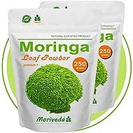 Moringa 500g polvo de hoja, oleifera PREMIUM PLUS alimentos crudos certificada (2x250g)