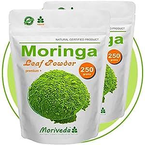 Moringa 500g Blattpulver Premium Plus, Vegan, zertifiziert und kontrolliert (2x250g Pulver)
