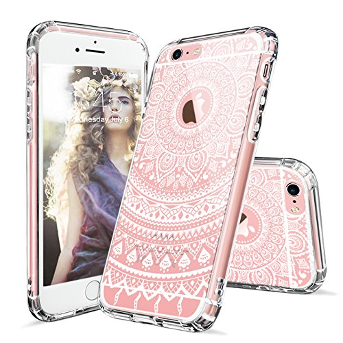 iPhone 6s Hülle, iPhone 6s Case, MOSNOVO Henna Mandala Blumen Weiß Muster Transparent TPU Bumper mit Hart Plastik Durchsichtige Schutzhülle für Apple iPhone 6 6s (4,7 Zoll) (Mandala Henna Tattoo) Mandala Lace