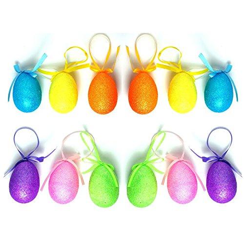 12 x, da appendere, con brillantini, per caccia al tesoro di uova pasquali, Confezione accessori per decorazione