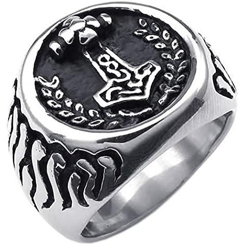 KONOV Joyería Anillo de hombre, Sello Martillo de Thor, Acero inoxidable, Color negro plata (con bolsa de regalo)