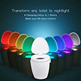 Toilet Seat Light – MEMTEQ LED Sensor Motion Activated Toilet Night Light Battery Operated Toilet Bowl Light, 8 Colors Changing Night Light for Bathroom Washroom