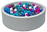 piscina gioco bambino palle palline 150 piscina secca (Colori delle palline: bianco, blu, rosa, grigio, turchese)