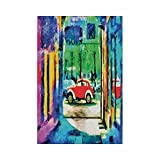 Liumiang Drapeau Eco-Friendly Manual Custom Garden Flag Demonstration Flag Game Flag,Psychedelic,Colorful Passage Psychedelic Art Retro Car Moving on The Way in Town Image,Multicolorecor d¨¦cor