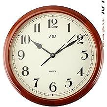 YYL Moda E Orologi Da Parete Creativo,Disattivare L'orologio Del Salotto,Orologio Al Quarzo Moderna,Grafici Di Parete In Legno Massello Giardino Europeo-A 16pollice