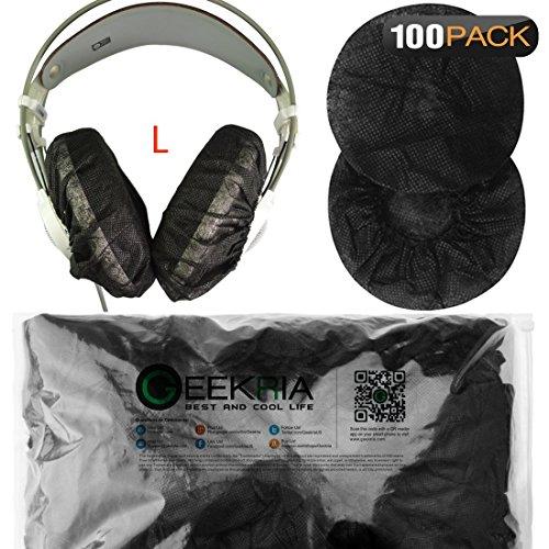 Extensible Casque couvertures/jetables sanitaire Oreillette Coussinets couvertures Compatible avec Medium/Taille Casque Lot de 200(100Paires) L (11-16) cm 100 Pairs Set(L) - Black