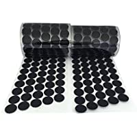 Arlent 1000pcs (500 pares) 2 cm de diámetro soporte adhesivo de monedas Hook & Loop auto-adhesivo DOTS Cintas Negro