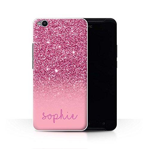 Stuff4® Personalisiert Individuell Glitter Effekt Hülle für HTC One X9 / Rosa Design/Initiale/Name/Text Schutzhülle/Case/Etui