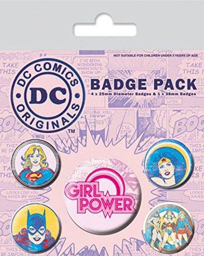 1art1 99274 Supergirl - Girl Power, DC Originals, 1 X 38mm & 4 X 25mm Buttons Button Pack 15 x 10 cm (Batgirl Pins)