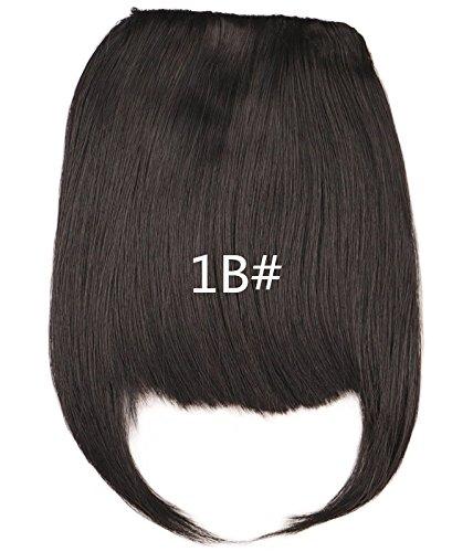WIAGHUAS Frauen Mädchen Natürliche Schwarz Braun Blonde Auf Vorderseite Ordentlich Synthetische Fringe Clip In Pony# 1B 6 ()