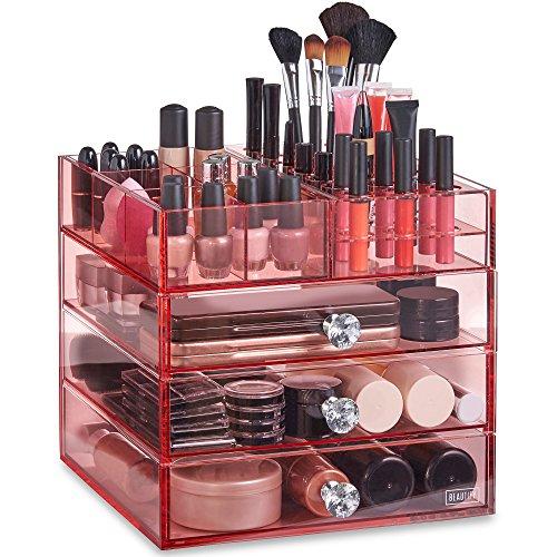 Beautify Boîtes à bijoux - Rangement Organisateur pour Maquillage et Cosmétiques - 3 Tiroirs, 21 Supports Rouge à Lèvres et 6 Compartiments - Acrylique Rose
