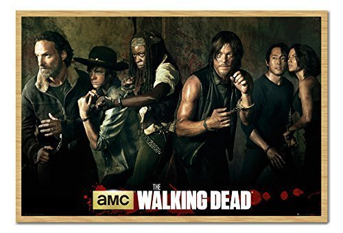 The Walking Dead Season 5 Poster Cast Buchenholz-Rahmen, 96,5 x 66 cm (ca. 96,5 x 66 cm) Bilder Von The Walking Dead Cast