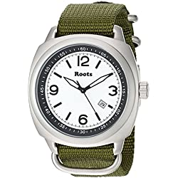 Roots Men's 'Core' Quartz Stainless Steel and Nylon Casual Watch, Color:Green (Model: 1R-PR100WH7G)